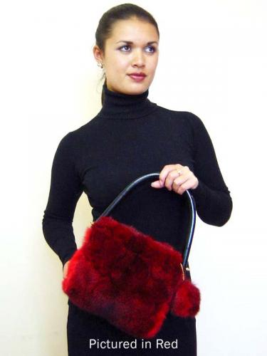 Red Possum Fur Pompom Bag