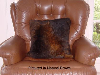 Natural Brown Possum Fur Cushion Covers Pair