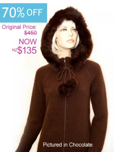 Chocolate Possum Merino Knitwear Igloo Jacket On Sale