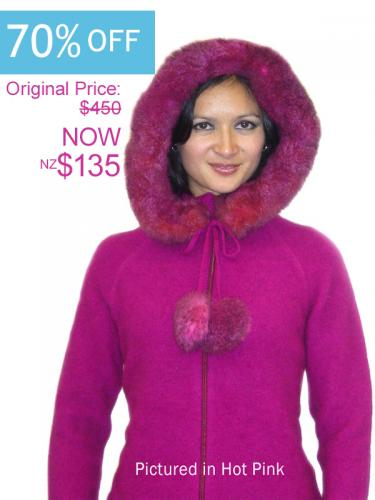Hot Pink Possum Merino Knitwear Igloo Jacket On Sale