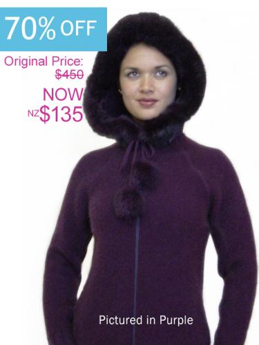 Purple Possum Merino Knitwear Igloo Jacket On Sale