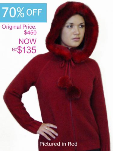 Red Possum Merino Knitwear Igloo Jacket with Hood On Sale