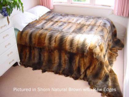 Shorn Natural Brown Possum Fur Full Bed Throw