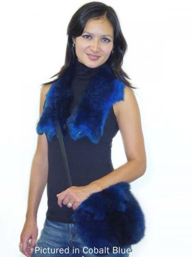 Blue Possum Fur Raw Edge Bag