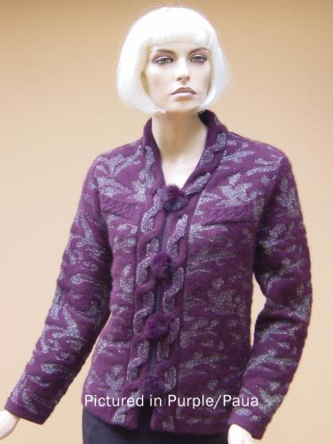 Purple/Paua Possum Merino Knitwear Rococco Jacket