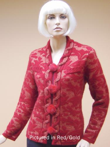 Red/Gold Possum Merino Knitwear Rococco Jacket