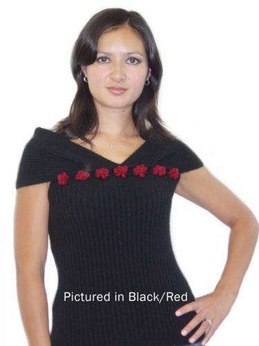 Black/Red Possum Merino Rose Top
