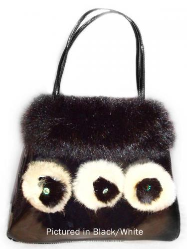 Black/White Possum Fur Rose Bag