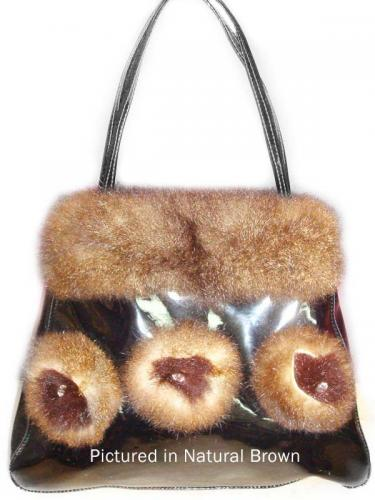 Natural Brown Possum Fur Rose Bag