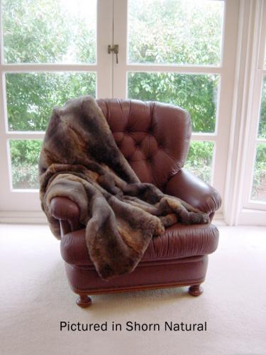Shorn Natural Brown Possum Fur Sofa Throw