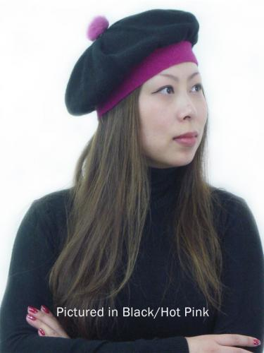 Black/Pink Possum Merino T Cozy Knit Hat