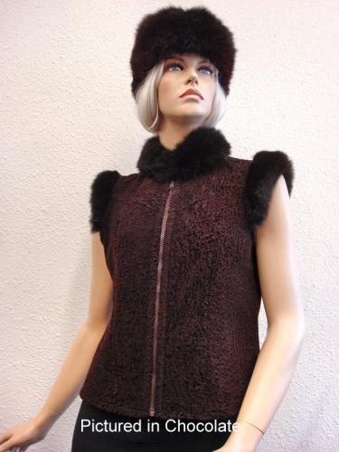 Chocolate Baby Lamb Shearling Lara Vest