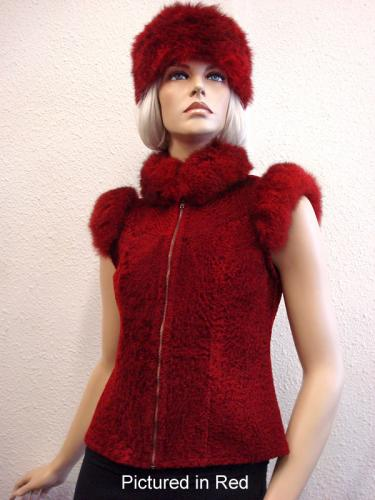 Red Baby Lamb Shearling Lara Vest