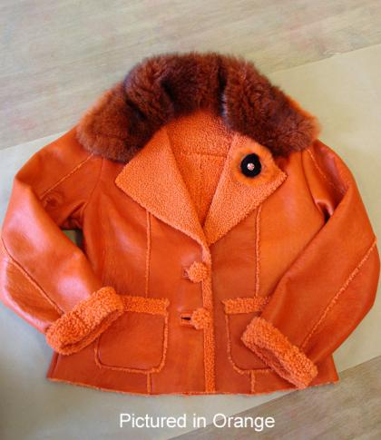 Orange Baby Lambskin Shearling Manhattan Jacket