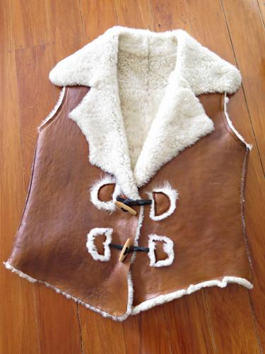 Distressed Tan Baby Lamb Skin Raw Edge Vest