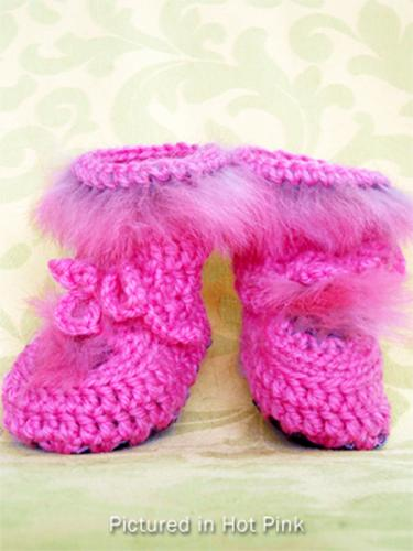 Hot Pink Baby Booties - High Cut