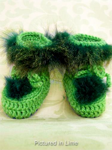 Lime Green Baby Booties - High Cut
