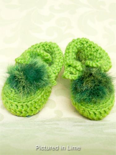 Lime Green Baby Booties - Low Cut