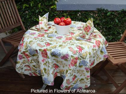 Flowers of Aotearoa Cafe Set, includes Tablecloth & Napkins