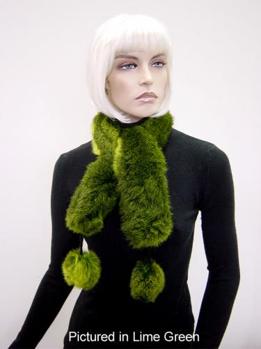 Lime Green Possum Fur Pompom Scarf