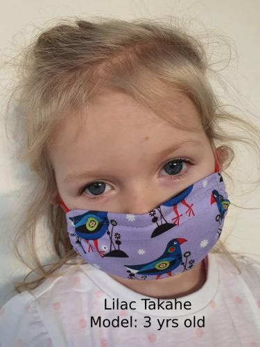 Lilac Takahe Face Mask Kiwiana Kids Ear Loop Style