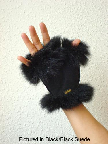 Possum Fur Mini Gauntlets Black/Black Suede