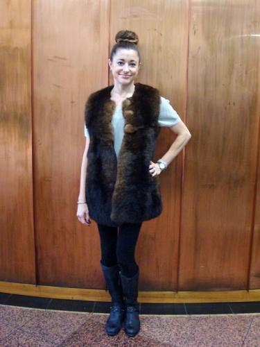 Natural Brown Custom Possum Fur Vest