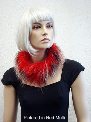 Red Multi Mongolian Lamb Choker Collar