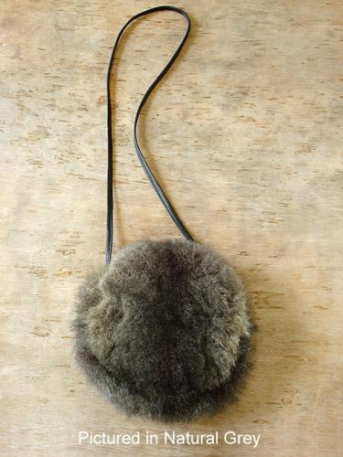Natural Grey Possum Fur Moon Bag