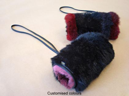 Custom colours Possum Fur Striped Muff