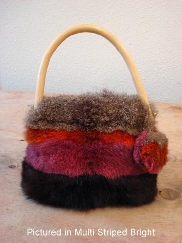 Possum Fur Pompom Bag in Multi Striped Bright