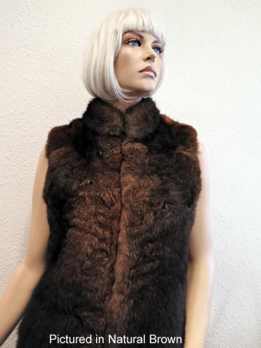 Natural Brown Possum Fur Classic Vest