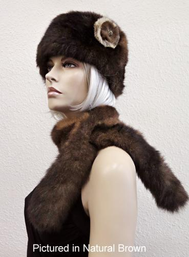 Natural Brown Possum Fur Cossack Hat with Rose