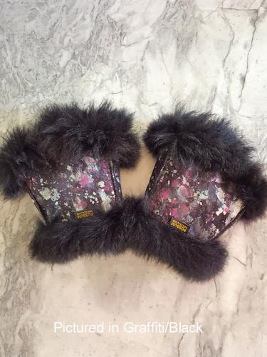 Graffiti/Black Possum Fur Mini Gauntlets