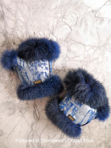 Stonewash/Cobalt Blue Possum Fur Mini Gauntlets