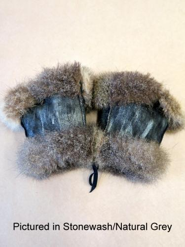 Stonewash/Natural Grey Possum Fur Mini Gauntlets