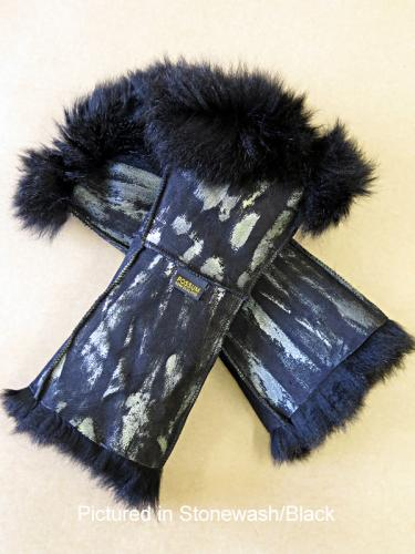 Possum Fur Gauntlets Stonewash/Black