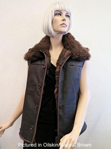 Oilskin / Natural Brown Possum Fur Hunter Vest
