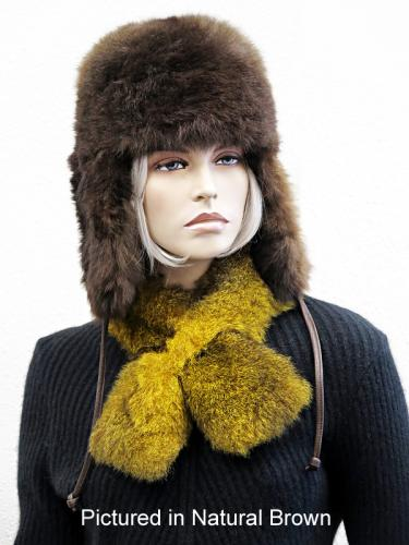 Possum Fur KGB Russian Hat in Natural Brown