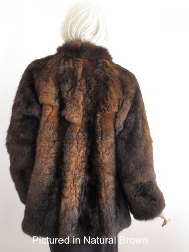 Natural Brown Custom Possum Fur Coat Back View
