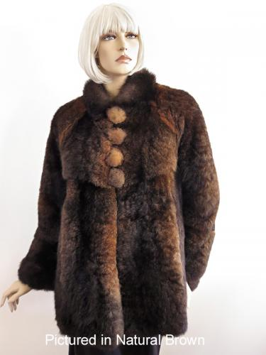 Natural Brown Possum Fur Mimi Coat