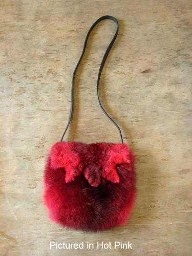 Hot Pink Possum Fur Raw Edge Bag