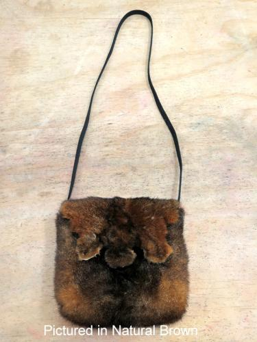 Natural Brown Possum Fur Raw Edge Bag