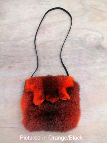 Orange/Black Possum Fur Raw Edge Bag