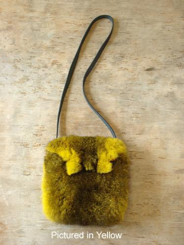 Yellow Possum Fur Raw Edge Bag