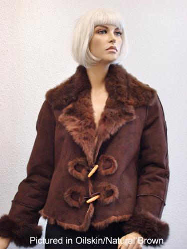 Oilskin/Natural Brown Possum Fur Raw Edge Jacket