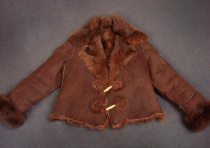 Possum Fur Raw Edge Jacket Oilskin/Natural Brown