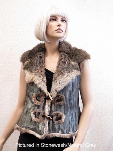 Possum Fur Raw Edge Vest Hand-Painted Stonewash