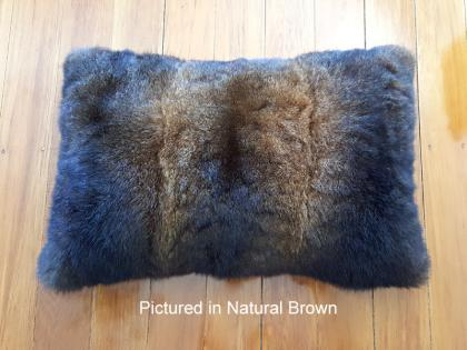 Possum Fur Rectangular Cushion Cover in Natural Brown
