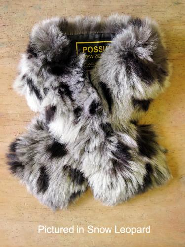 Possum fur Scarf Collar Snow Leopard Print